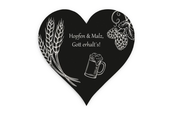 Motiv Bierdeckel Hopfen & Malz schwarz weiss Herz 120x120 mm