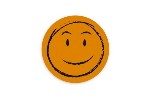 Motiv Untersetzer Smiley orange Kreis Ø 90 mm