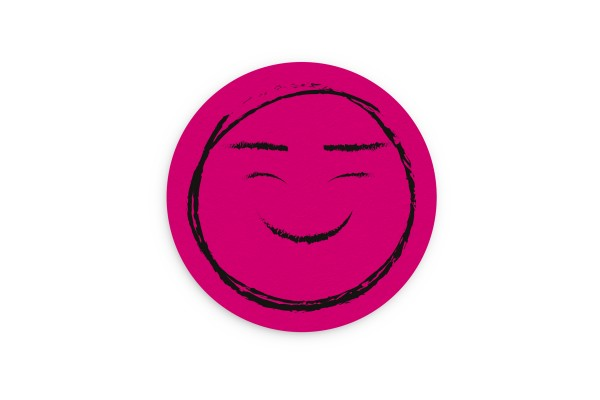 Motiv Untersetzer Smiley magenta Kreis Ø 90 mm